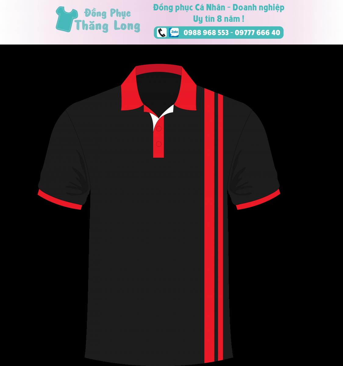 Áo Polo đen sọc đứng đỏ